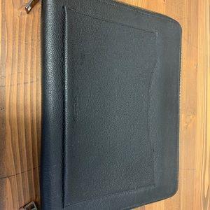 Coach black leather tech case